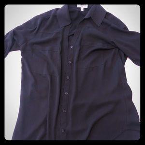 Classic black button down blouse